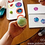 Create stamps using a potato, apple, or any other smooth produce.