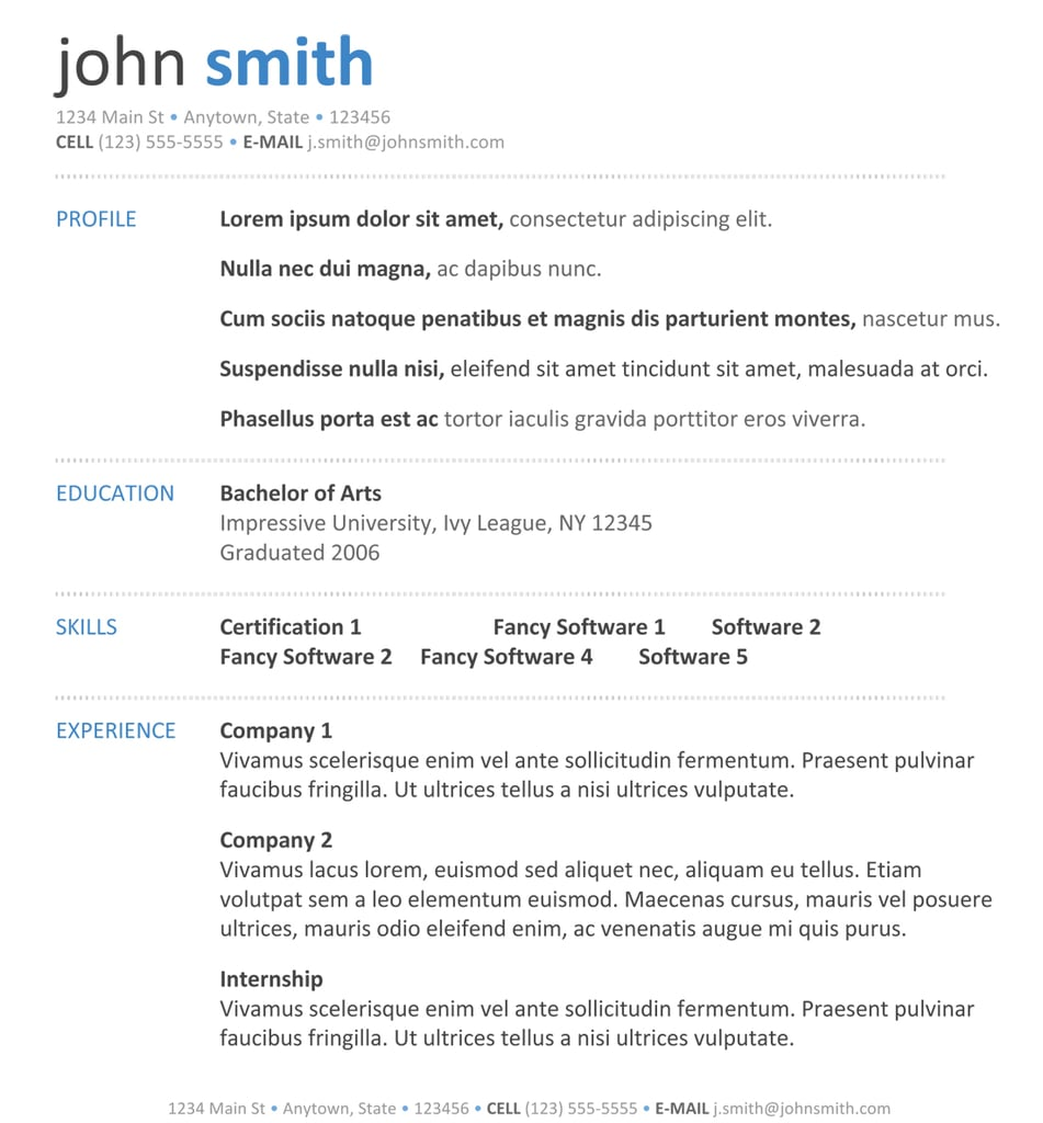 Blue Modern Free Resume Templates To Download Popsugar Career