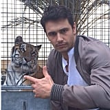James Franco posed with a (caged) tiger on the set of a Ford commercial. Source: Instagram user jamesfrancotv