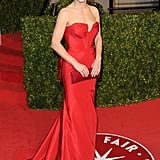Sandra Bullock looked red hot in this classic Vera Wang gown at the Vanity Fair Oscars party in 2011.