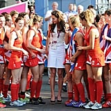 Kate met with the team after the match.