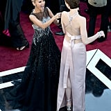 Anne Hathaway cracked Kristin Chenoweth up on the carpet.