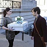 Michelle Trachtenberg as Georgina and Penn Badgley as Dan on Gossip Girl.