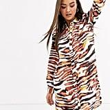 Neon Rose Shirt Tiger Print Dress