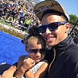"""MVP Stephen Curry posed in sunnies with his beautiful baby girl, Riley, whom he says """"has such a contagious spirit about her that makes me appreciate EVERYTHING."""""""
