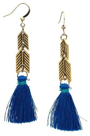 Women's Arrow Bead With Blue Tassel Drop Ear Gold ($8)