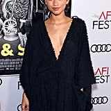 Zendaya Wears Fuzzy Dress and Boots to Queen & Slim Premiere