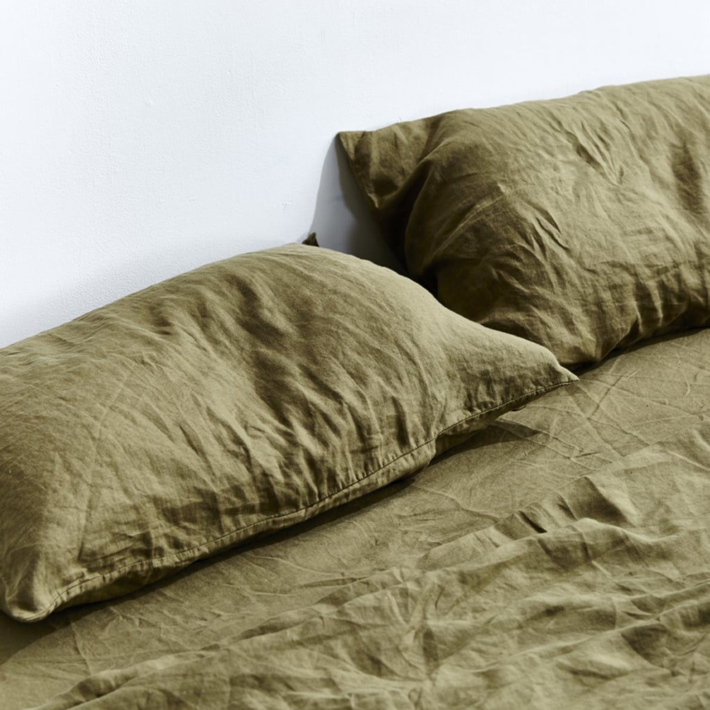 In Bed 100% Linen Pillowslip Set in Moss ($85)