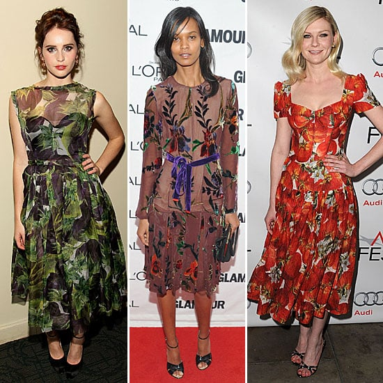 Pictures of Kirsten Dunst, Liya Kebede and Felicity Jones in Floral Print Dresses: