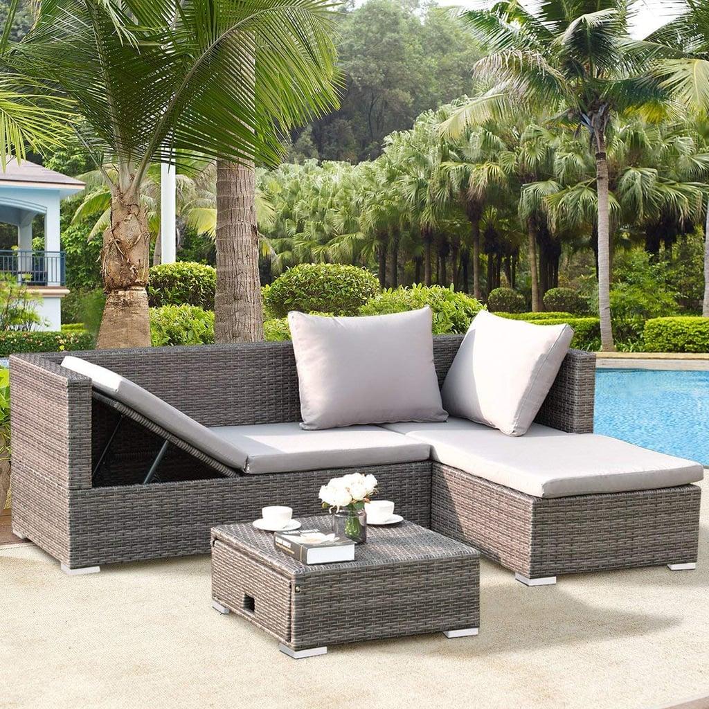Tangkula Outdoor Garden Patio Wicker Rattan Adjustable Sofa