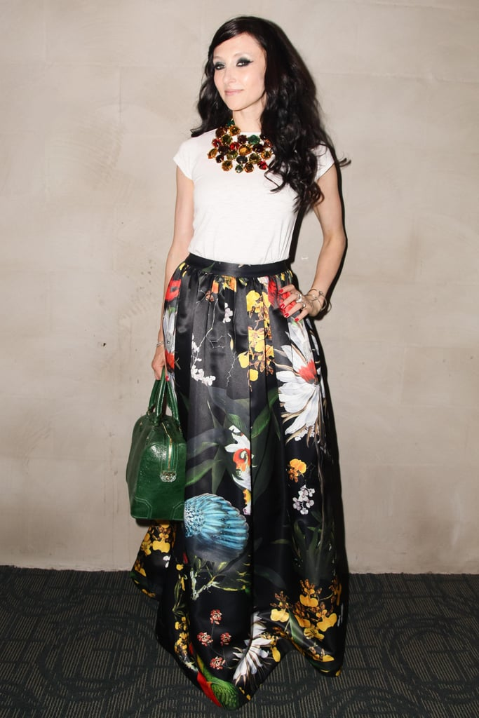 Stacey Bendet screened Austenland with the Cinema Society in a printed maxi skirt and statement accessories.