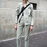 With Muted Matching Separates and a Crossbody Bag