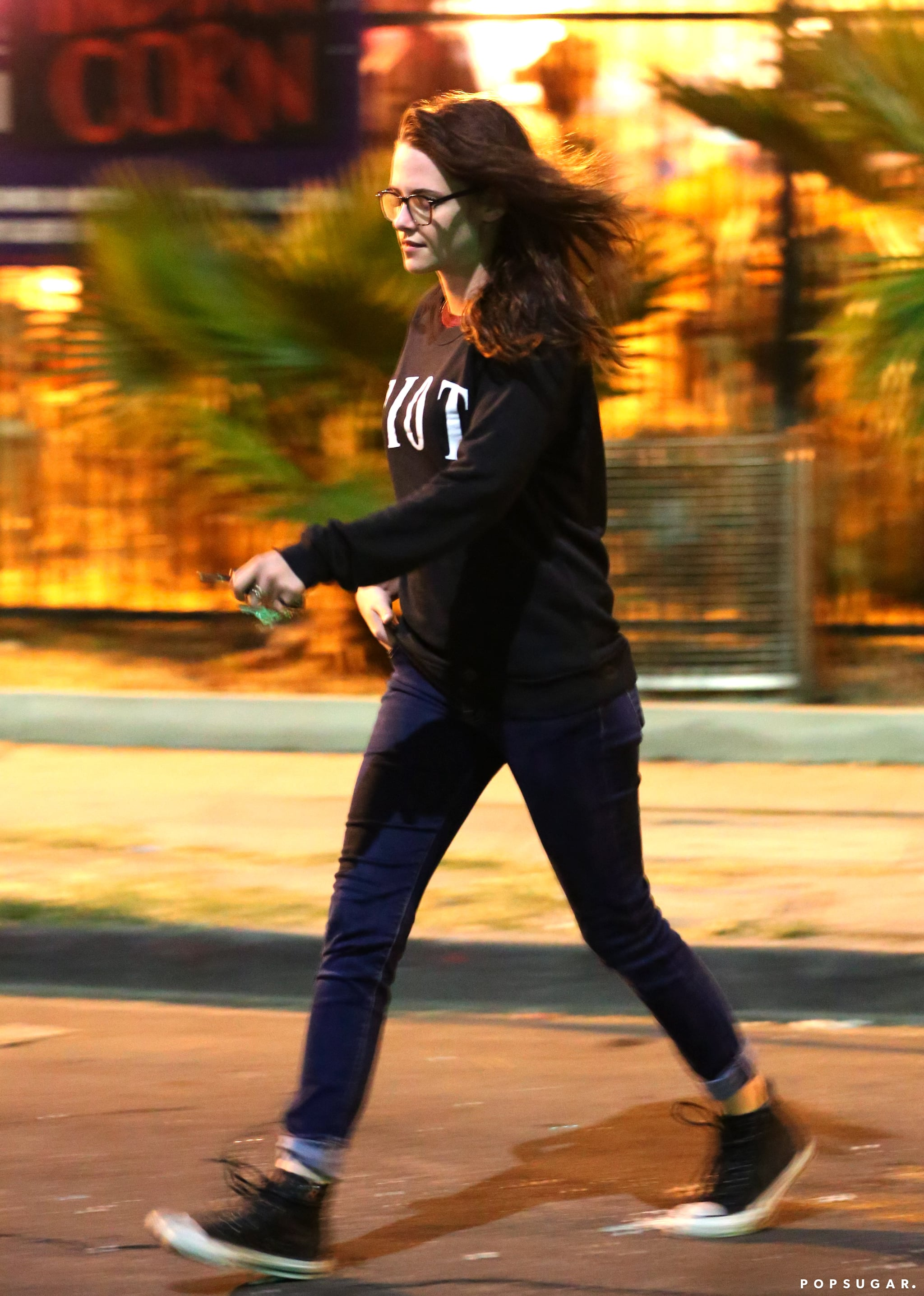 Kristen Stewart smiled while heading to a pumpkin patch.