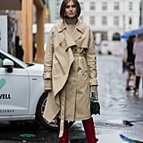 Meet a Mid-Length Trench With Bright Red Knee-High Boots