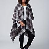 Plaid Hooded Kimono With Closure