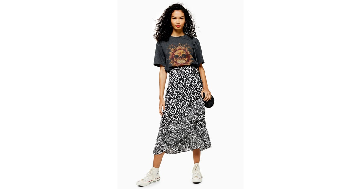 1b28c6288 Topshop Black and White Floral Wrap Midi Skirt | Best Summer Clothes From  Topshop | POPSUGAR Fashion Photo 11