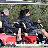 Johnny Drama and Vince (Kevin Dillon and Adrian Grenier) hopped on a golf cart.