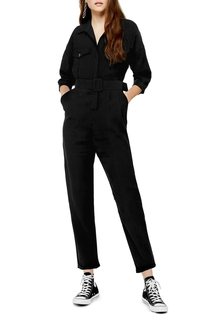 Topshop Belted Button-Up Long-Sleeved Jumpsuit