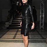 Kate arriving at the Miu Miu 2010 Paris Fashion Week show in a knock-out leather style.
