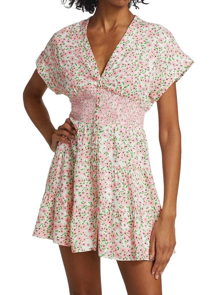 Alice + Olivia Keela Floral Print Smocked Button-Front Dress