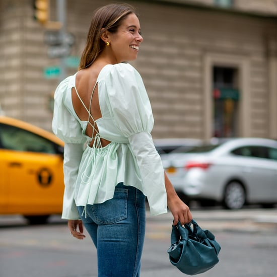 Easy Outfit Idea: A Puffy-Sleeve Top, Jeans, Bag, and Heels