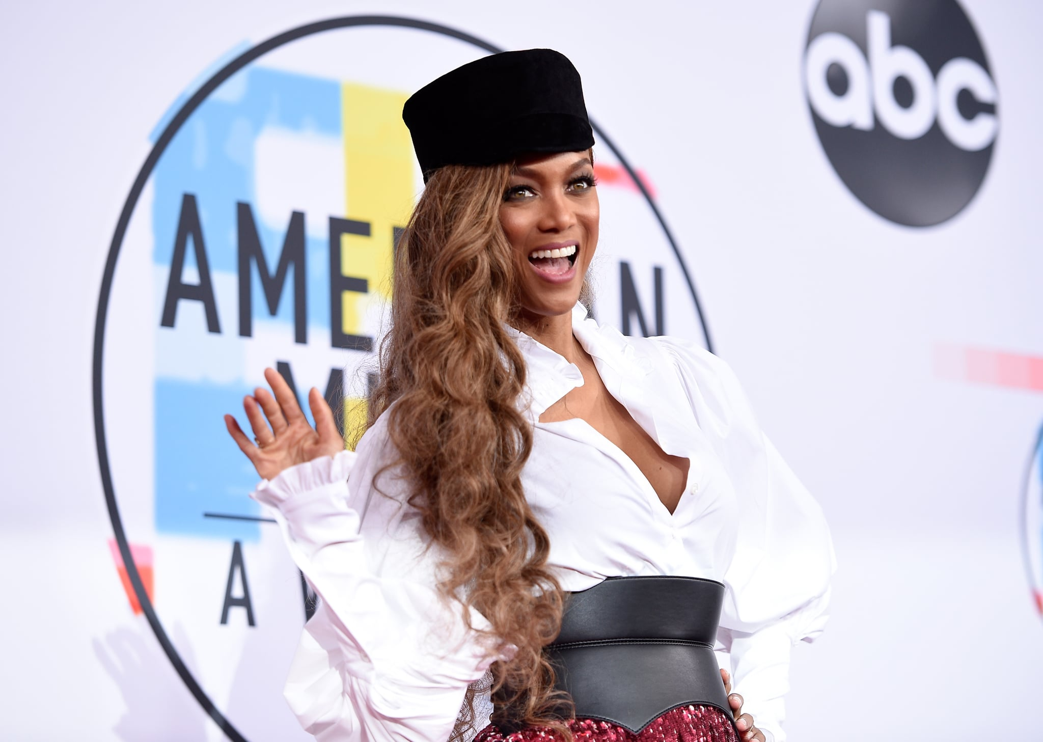 LOS ANGELES, CA - OCTOBER 09:  Tyra Banks attends the 2018 American Music Awards at Microsoft Theater on October 9, 2018 in Los Angeles, California.  (Photo by Kevork Djansezian/Getty Images For dcp)