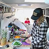 "As for actually cooking? This mama made sure she had plenty of room to work. After all, no one likes a cramped kitchen, right?  ""Our kitchen counter has an extremely large footprint to accommodate a 95-liter fridge-freezer,"" said Tracy. ""The van is powered with 260-watt solar panels. There's a stationary panel on the top and a mobile that we chase the sun with."""