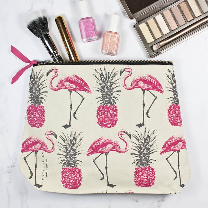 Yvonne Ellen Flamingos And Pineapples Make Up Bag