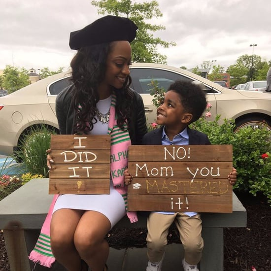 Mom and Son Graduation Sign Photo