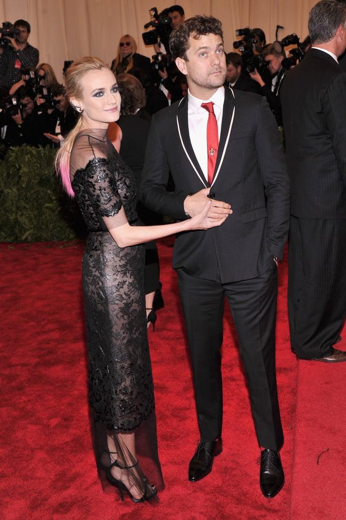 Diane Kruger and Joshua Jackson joked around on the carpet.