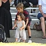 Romeo Beckham gave his little sister a lift on the soccer field in LA in September.
