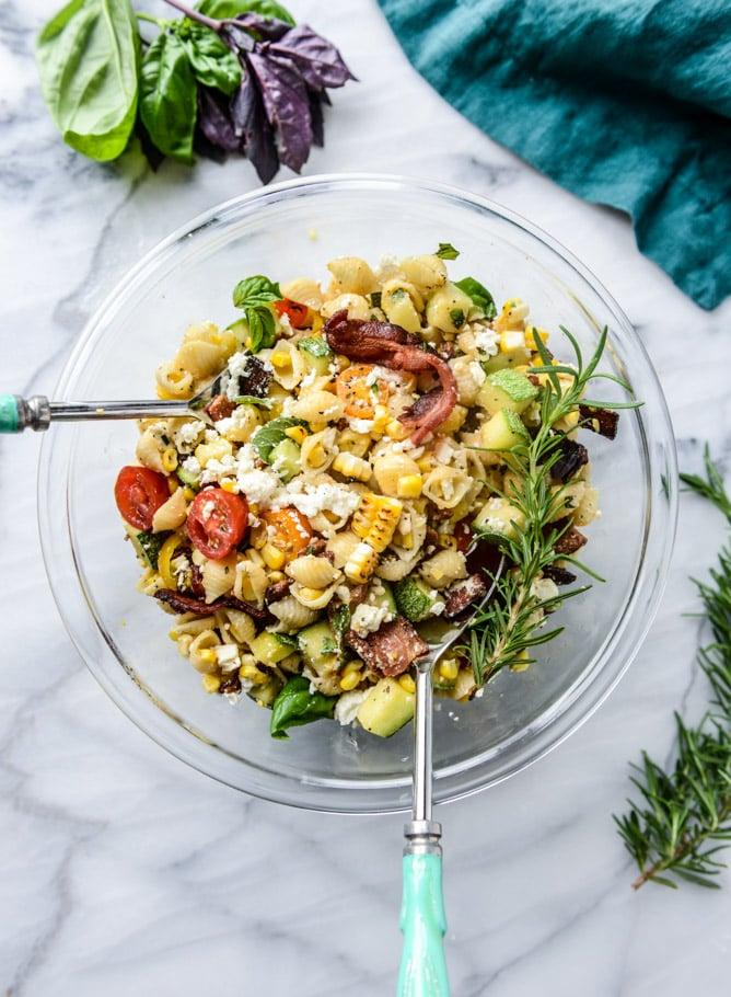 Bacon Grilled Corn And Zucchini Pasta Salad Summer Zucchini And Squash Recipes Popsugar