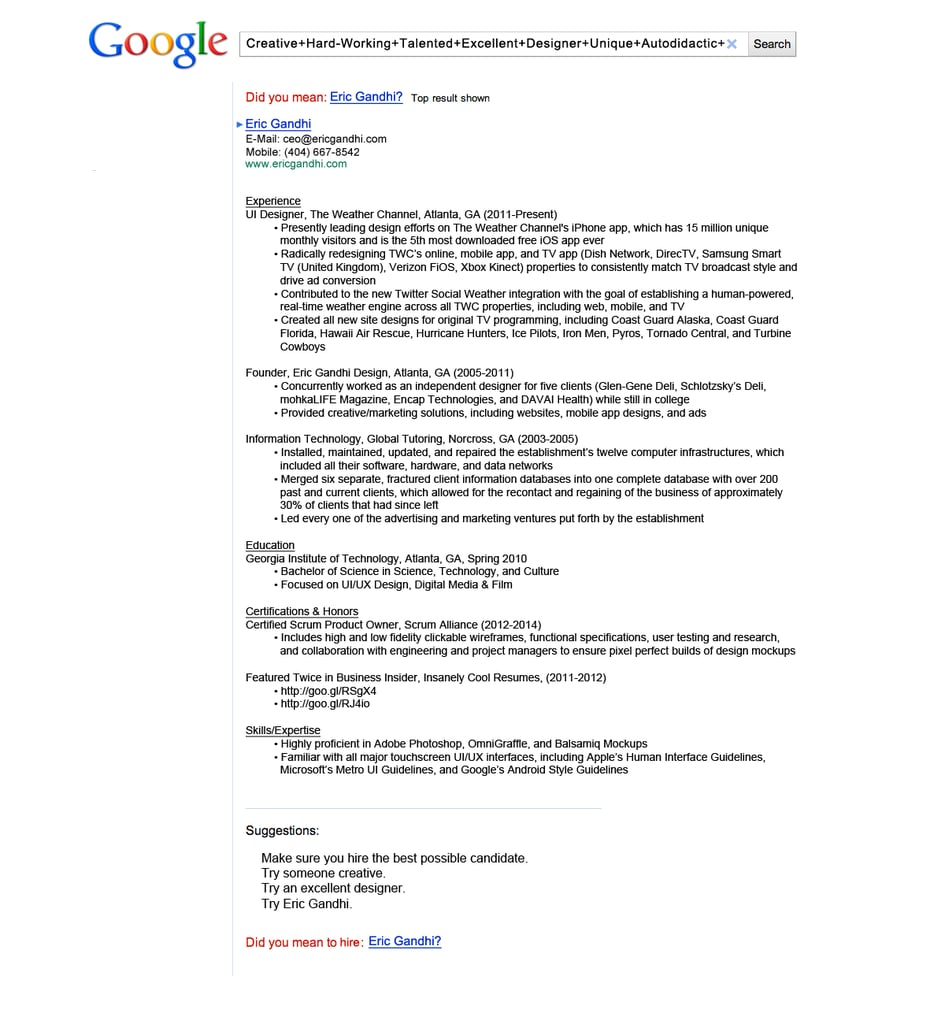 Google Search Results | Creative Resumes | POPSUGAR Career and ...