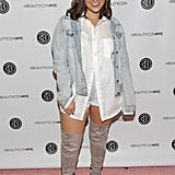 When it comes to shoes, there are no styles off limits for plus-size ladies. Try a pair of knee-high boots with shorts and an oversize button-down, like Nadia Aboulhosn. Not only is the outfit sexy, but you can avoid over-skin exposure.