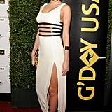 Miranda got leggy in a leather-trim Michael Kors column gown and strappy black sandals at the G'Day USA Gala in Hollywood.