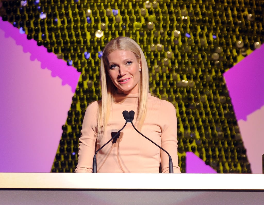 "Gwyneth Paltrow got some of her best Big Apple girlfriends together last night for Good Housekeeping's Shine On Awards, which honored the achievements of powerful women. The actress was there to salute the work and raise awareness around maternal health done by Christy Turlington Burns, and they shared the evening with other ladies like Meryl Streep, Rebecca Romijn, and new mom Ali Larter. Gwyneth, who was on the cover of the magazine's February issue, has been busy with her return to Glee, which airs next week, and promoting her latest publication — she hosted a dinner for friends like Cameron Diaz, Jay-Z, and Mario Batali on Monday to toast her new cookbook My Father's Daughter. She was on hand yesterday to congratulate others, but Gwyneth took a minute to discuss the long hours she spends maintaining her awesome figure. Gwyneth said on the red carpet, ""The reason that I can be 38 and have two kids and wear a bikini is because I work my [expletive] ass off. It's not an accident. It's not luck, it's not fairy dust, it's not good genes. It's killing myself for an hour and a half five days a week, but what I get out of it is relative to what I put into it. That's what I try to do in all areas of my life."""