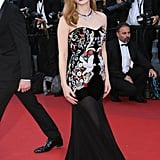 She wore a black embellished Alexander McQueen gown to the 2017 Cannes Film Festival.