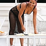 Christina Milian snacked by the pool.