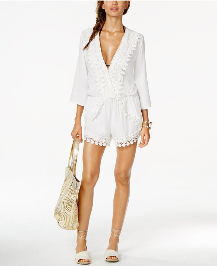 a8ce58ac45320 La Blanca Crochet-Trim Romper Cover-Up ( 95)