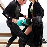 AnnaLynne McCord practiced a fight scene on the beach.