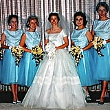 Bridesmaids wore two-toned Tiffany's blue ensembles for the 1960 wedding.  Source: Flickr user Rix