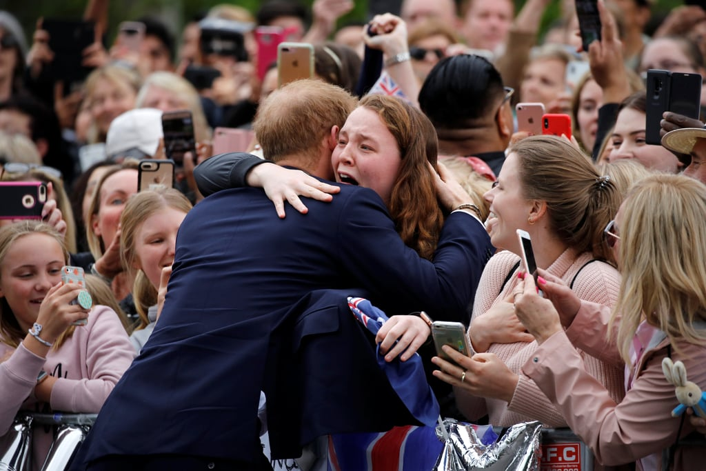 Harry hugged a member of the public during a 2018 visit to the Royal Botanical Gardens in Melbourne.