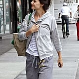Pictures of Katie Holmes Arriving at the Gym in LA Wearing All Gray