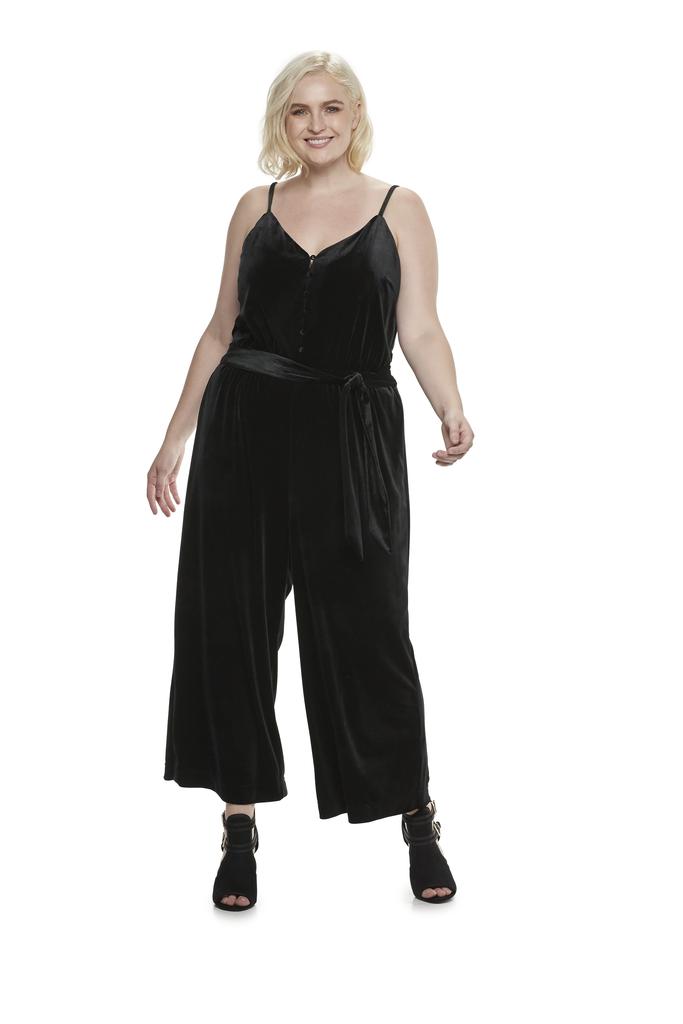 d86a0e77fda1 Velvet Wide Leg Jumpsuit in Jet Black