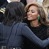 Beyoncé stopped to hug the first lady.