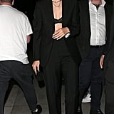 Gigi Hadid Wearing a Black Suit and Bra in London
