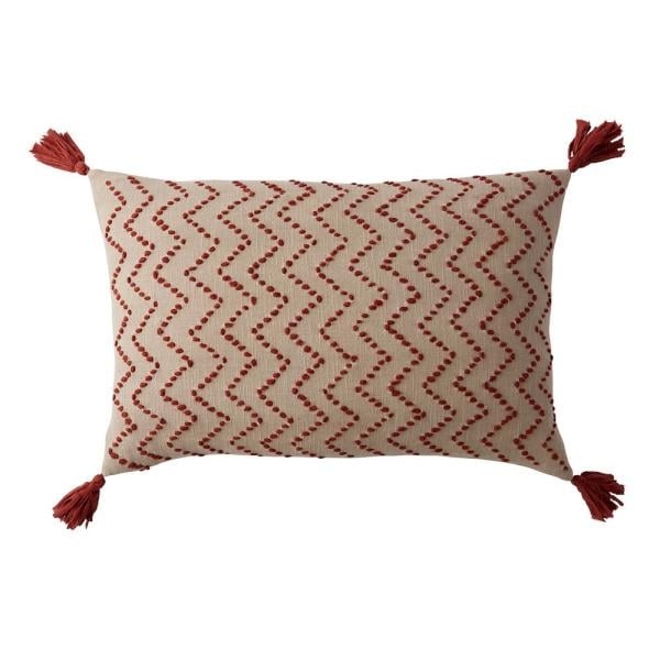 The Company Store Embroidered Decorative Pillow Cover in Red Chevron