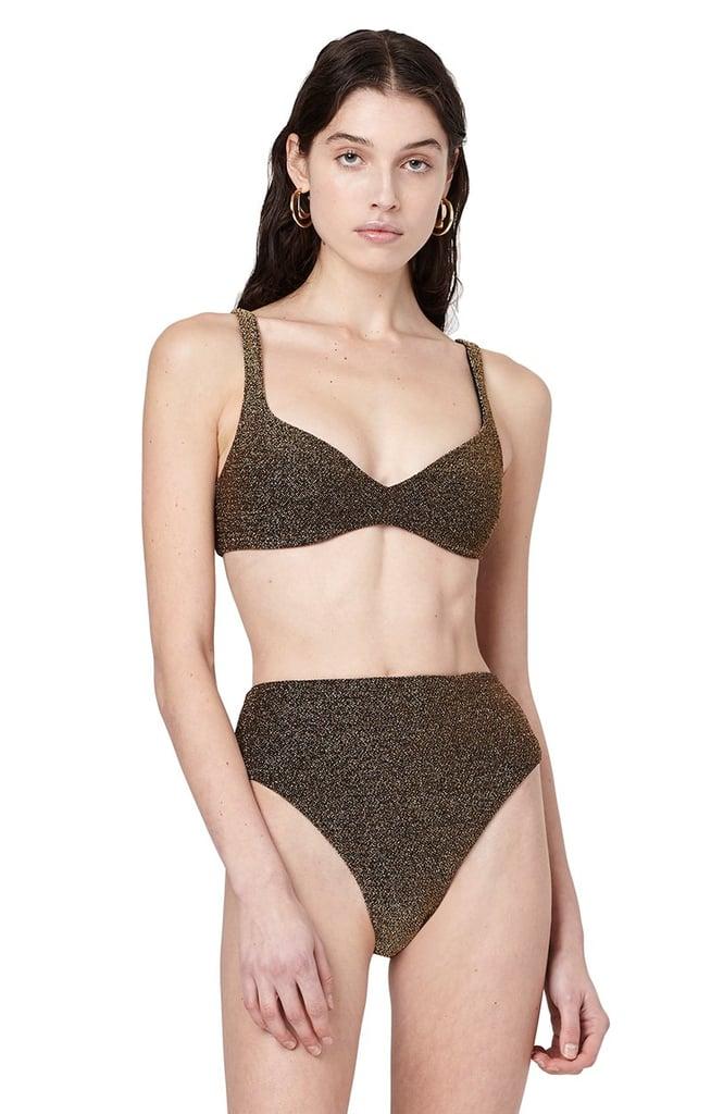 Alix NYC Alton Oro High Waisted Glitter Bikini Bottom Swimsuit