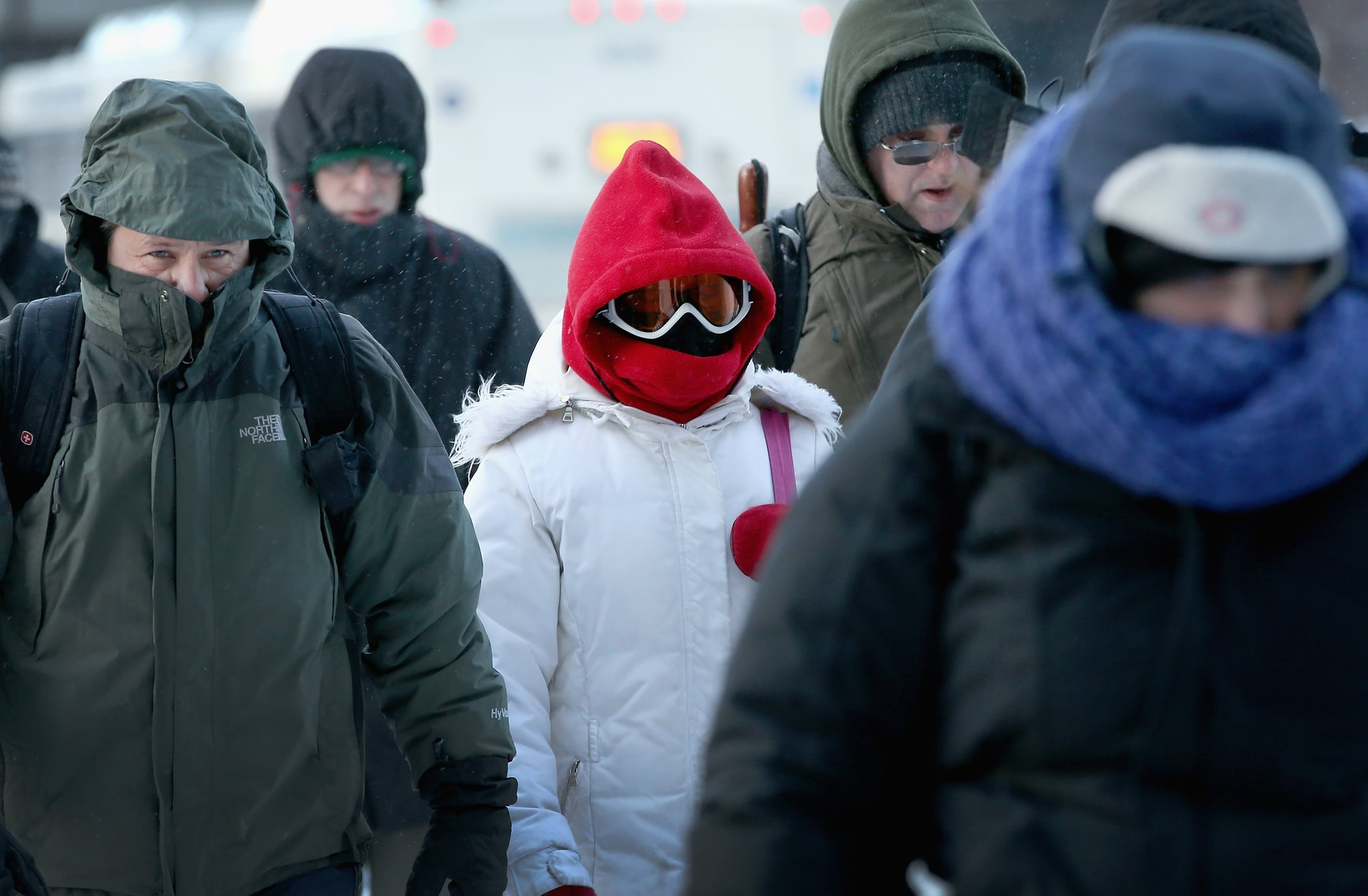 One woman wore a pair of ski goggles to brave the chilly temperatures.