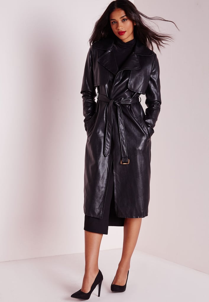 Missguided Faux Leather Trench Coat Black ($100)